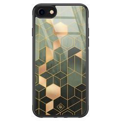 Casimoda iPhone SE 2020 glazen hardcase - Kubus groen