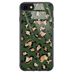 Casimoda iPhone SE 2020 glazen hardcase - Luipaard groen