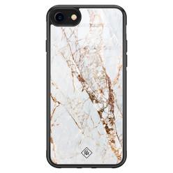 Casimoda iPhone SE 2020 glazen hardcase - Marmer goud