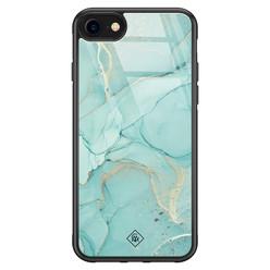 Casimoda iPhone SE 2020 glazen hardcase - Touch of mint