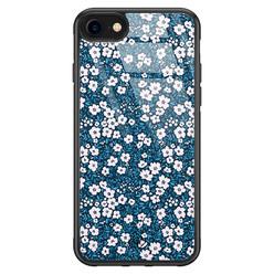 Casimoda iPhone SE 2020 glazen hardcase - Bloemen blauw