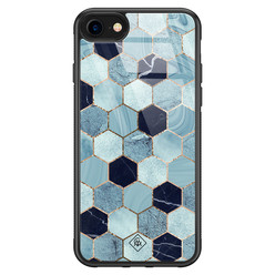 Casimoda iPhone SE 2020 glazen hardcase - Blue cubes