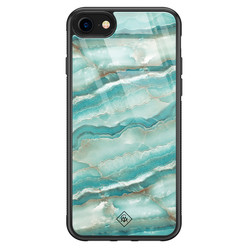 Casimoda iPhone SE 2020 glazen hardcase - Marmer azuurblauw