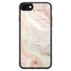 Casimoda iPhone SE 2020 glazen hardcase - Marmer waves