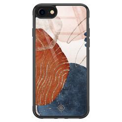 Casimoda iPhone SE 2020 glazen hardcase - Abstract terracotta
