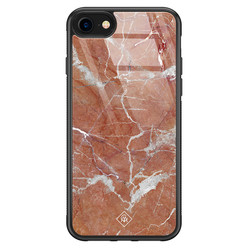 Casimoda iPhone SE 2020 glazen hardcase - Marble sunkissed