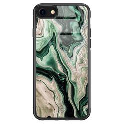 Casimoda iPhone SE 2020 glazen hardcase - Green waves