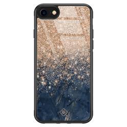 Casimoda iPhone SE 2020 glazen hardcase - Marmer blauw rosegoud