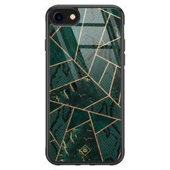 Casimoda iPhone SE 2020 glazen hardcase - Abstract groen