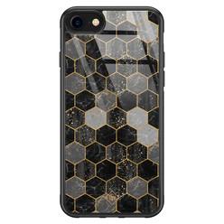 Casimoda iPhone SE 2020 glazen hardcase - Hexagons zwart