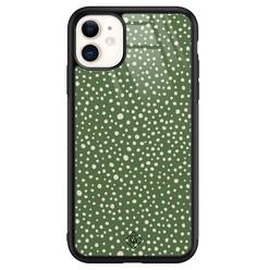 Casimoda iPhone 11 glazen hardcase - Green dots