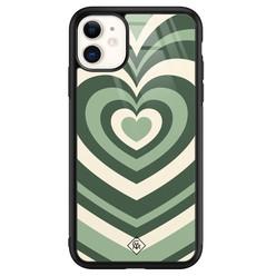 Casimoda iPhone 11 glazen hardcase - Hart swirl groen