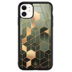 Casimoda iPhone 11 glazen hardcase - Kubus groen