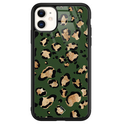 Casimoda iPhone 11 glazen hardcase - Luipaard groen