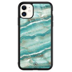 Casimoda iPhone 11 glazen hardcase - Marmer azuurblauw