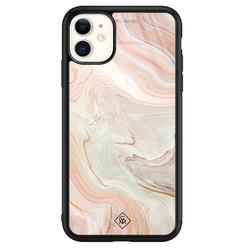 Casimoda iPhone 11 glazen hardcase - Marmer waves