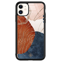 Casimoda iPhone 11 glazen hardcase - Abstract terracotta