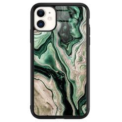 Casimoda iPhone 11 glazen hardcase - Green waves