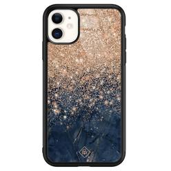 Casimoda iPhone 11 glazen hardcase - Marmer blauw rosegoud