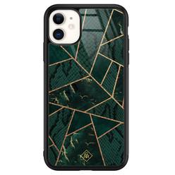 Casimoda iPhone 11 glazen hardcase - Abstract groen