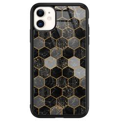 Casimoda iPhone 11 glazen hardcase - Hexagons zwart