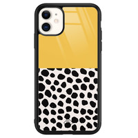 Casimoda iPhone 11 glazen hardcase - Abstract geel