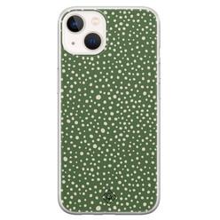 Casimoda iPhone 13 mini siliconen hoesje - Green dots