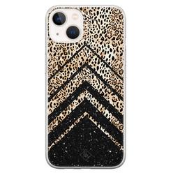Casimoda iPhone 13 mini siliconen hoesje - Chevron luipaard