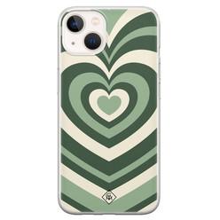 Casimoda iPhone 13 mini siliconen hoesje - Hart swirl groen