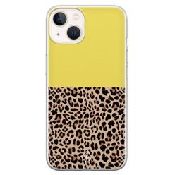 Casimoda iPhone 13 mini siliconen hoesje - Luipaard geel