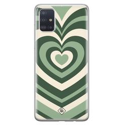 Casimoda Samsung Galaxy A71 siliconen hoesje - Hart swirl groen