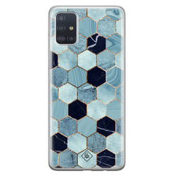 Casimoda Samsung Galaxy A71 siliconen hoesje - Blue cubes