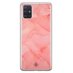 Casimoda Samsung Galaxy A71 siliconen hoesje - Marmer roze