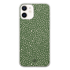 Casimoda iPhone 12 siliconen hoesje - Green dots