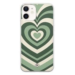 Casimoda iPhone 12 siliconen hoesje - Hart groen swirl