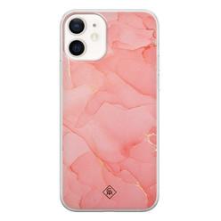 Casimoda iPhone 12 siliconen hoesje - Marmer roze