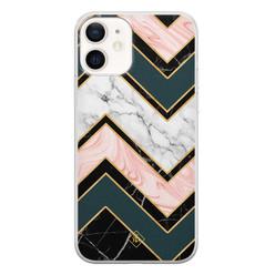 Casimoda iPhone 12 siliconen hoesje - Marmer triangles