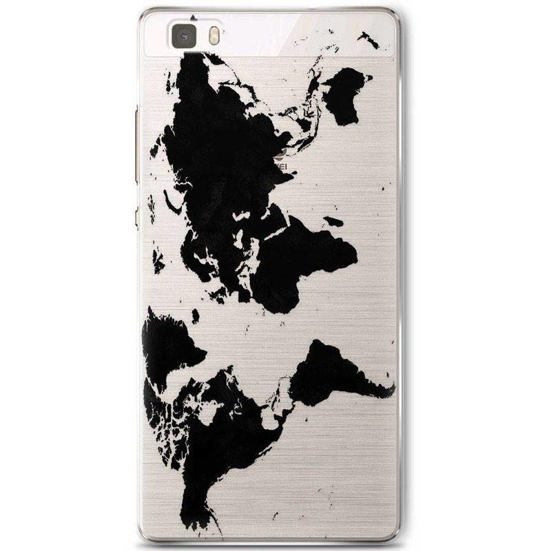 Huawei P8 Lite siliconen hoesje - Wereldmap