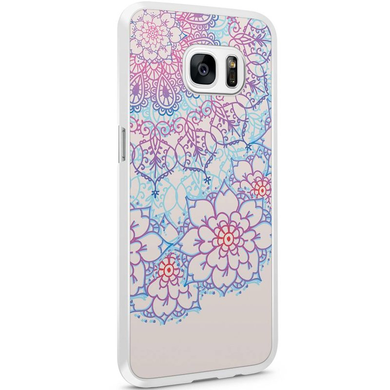 Samsung Galaxy S7 Edge hoesje - Red & blue floral