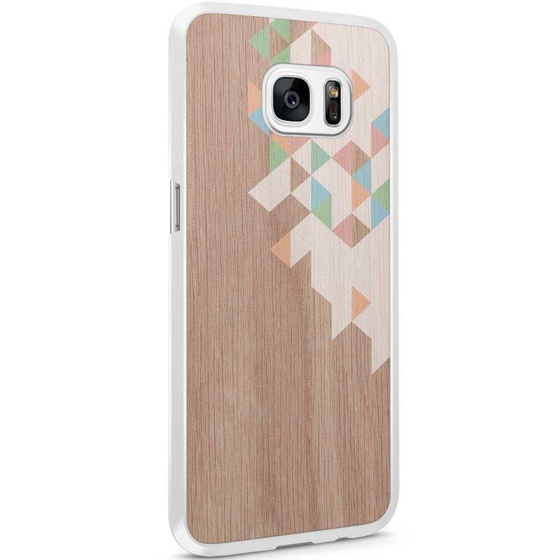 Samsung Galaxy S7 Edge hoesje - Geo blocks on wood