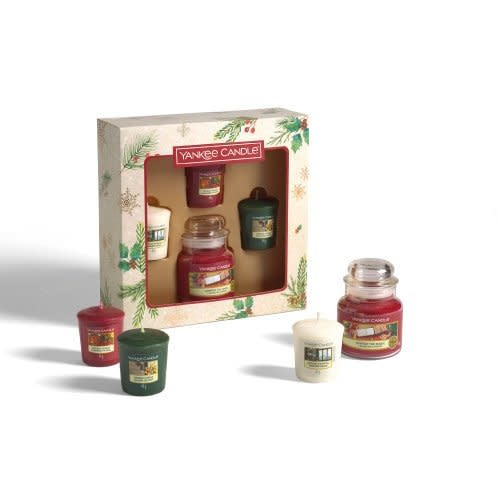 Yankee Candle Christmas Gift Set 1 Small Geurkaars & 3 Votive Geurkaarsen