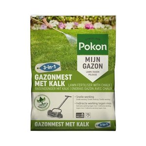 POKON  GAZONMEST MET KALK 3-IN-1 75M²