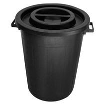 Ronde ton 100 ltr met deksel zwart