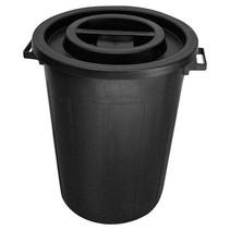 Ronde ton 50 ltr met deksel zwart