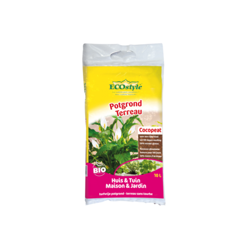 ECOSTYLE Potgrond (Cocopeat) Huis & Tuin 10 LITER