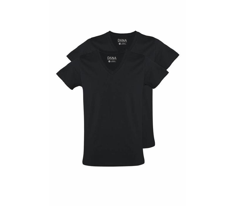 extra lange t-shirts 2-pack v-hals zwart
