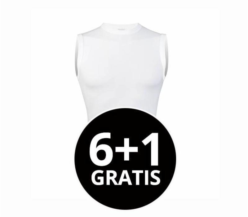 heren extra lang mouwloos shirt wit voordeelpack