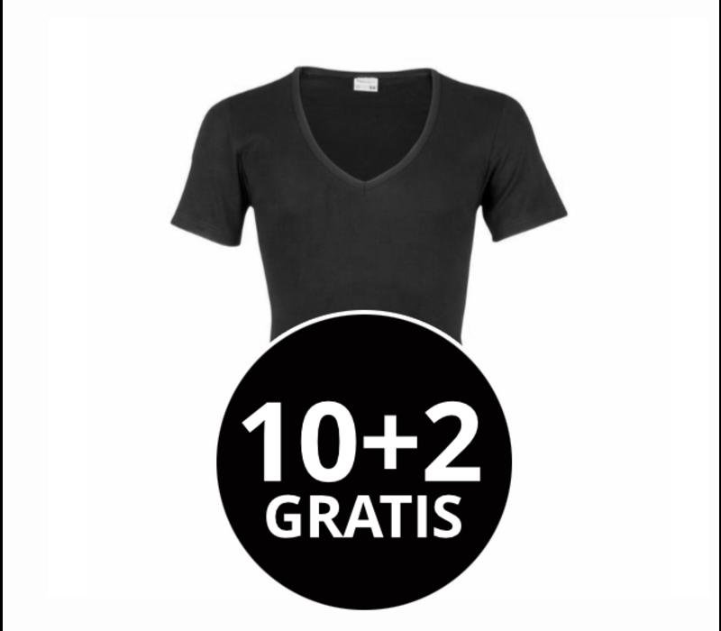 Beeren Heren Diepe V-Hals T-Shirt Extra Lang M3000 Zwart Mega voordeelpack