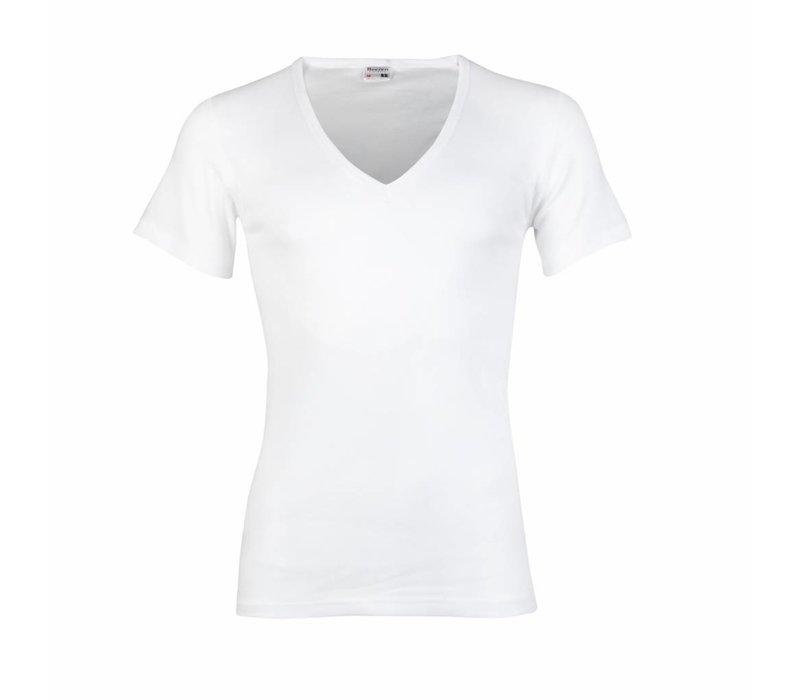 Beeren Heren T-Shirt Diepe V-Hals M3000 Wit voordeelpack
