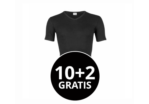 Beeren Heren T-Shirt V-Hals M3000 Zwart Mega voordeelpack